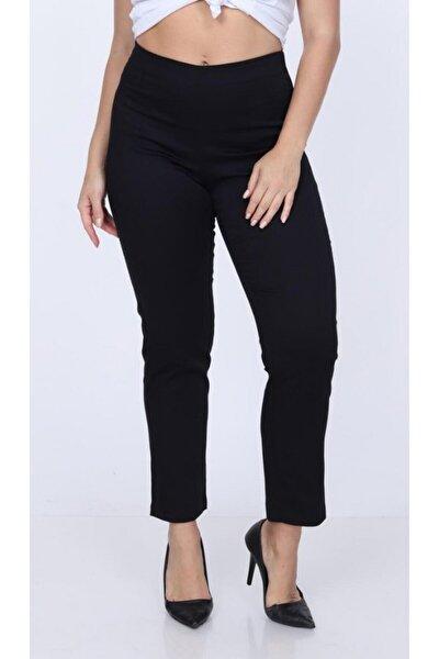 Kadın Siyah Büyük Beden Beli Lastikli Kumaş Pantolon