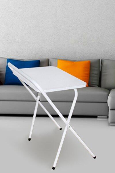 Laptop Masa Katlanabilir Çalışma Masası Koltuk Sehpası - Beyaz