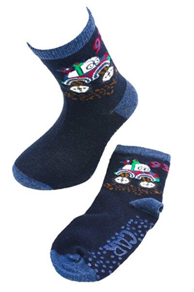 Erkek Çocuk Lacivert Araba Desenli Tabanaltı Kaydırmaz Soket Çorap   A20033-1