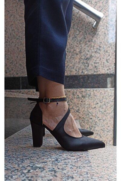 Kadın Siyah Saten Modelli Stiletto