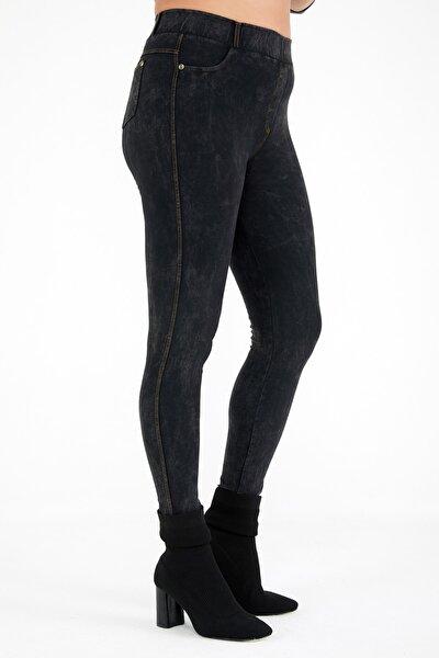Büyük Beden Füme Jean Görünümlü Tayt Pantolon