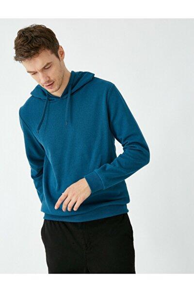 Erkek Yeşil Kapüsonlu Uzun Kollu Basic Sweatshirt