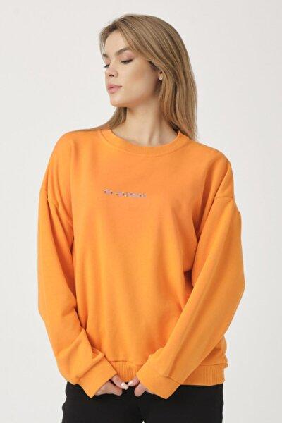 Kadın Turuncu Cosmos Baskılı Sweatshirt