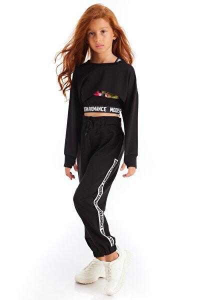 Kız Çocuk Siyah Modern Romance Şeritli Pantolon