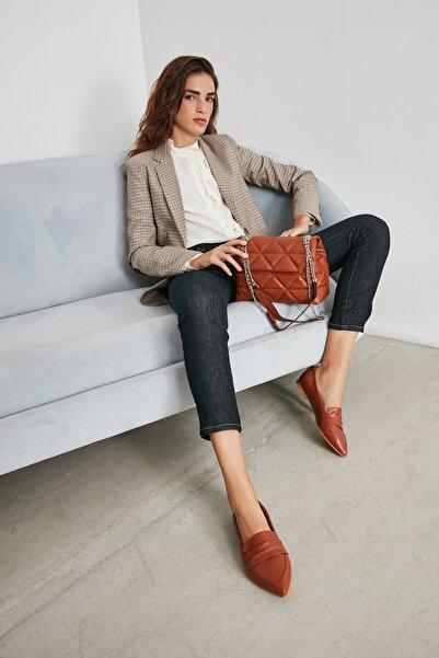 Kadın Kahverengi Taba Babet Düz Ayakkabı