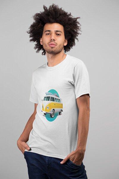 Erkek Beyaz Karavan Otobüs Baskılı Oversize T-shirt T9345973