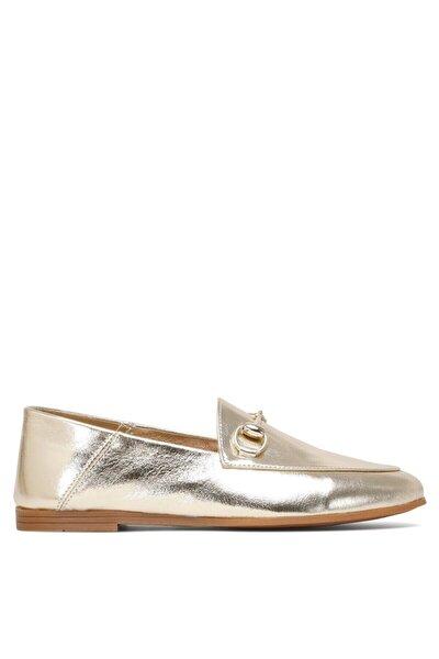 Kadın Altın Loafer Ayakkabı