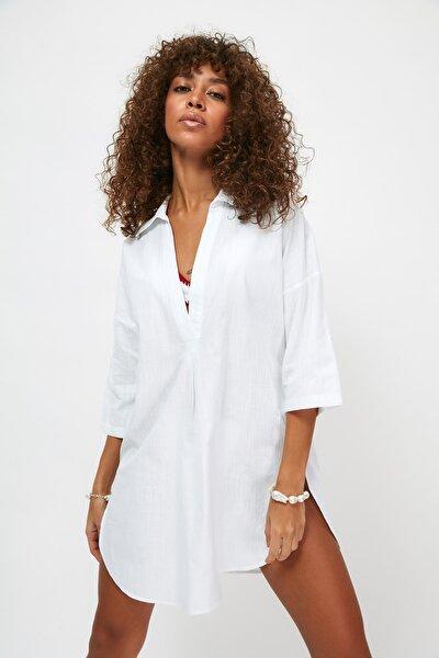 Beyaz Keten Görünümlü Plaj Elbisesi TBESS21EL3979
