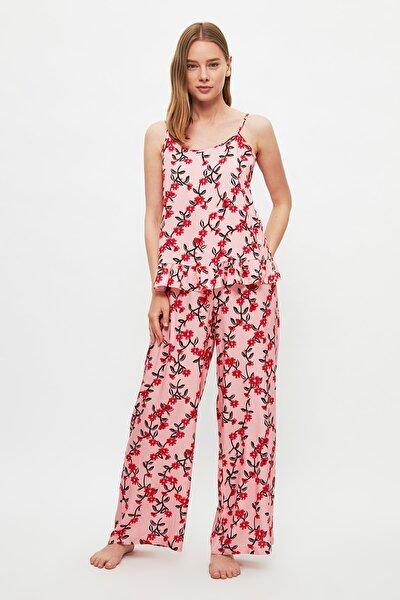 Çiçek Desenli Dokuma Pijama Takımı THMSS21PT1104