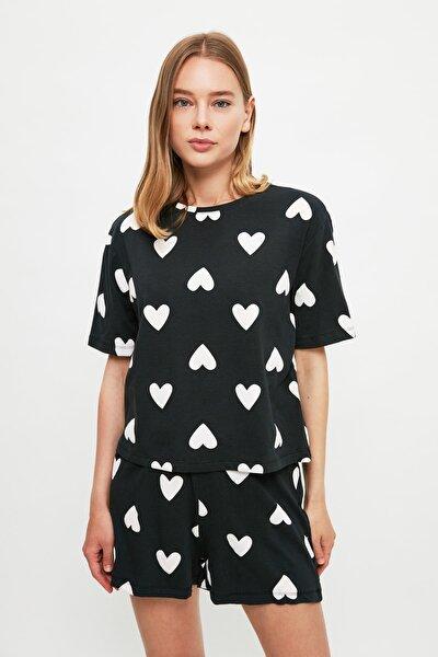 Siyah Kalp Desenli Örme Pijama Takımı THMSS21PT1475