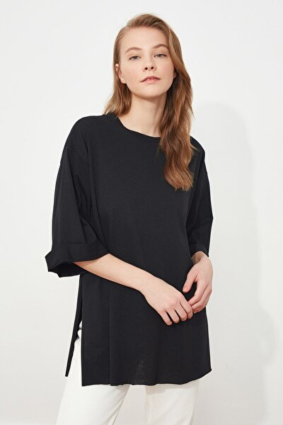 Kadın Siyah Duble Kol Asimetrik Boyfriend Örme T-shirt