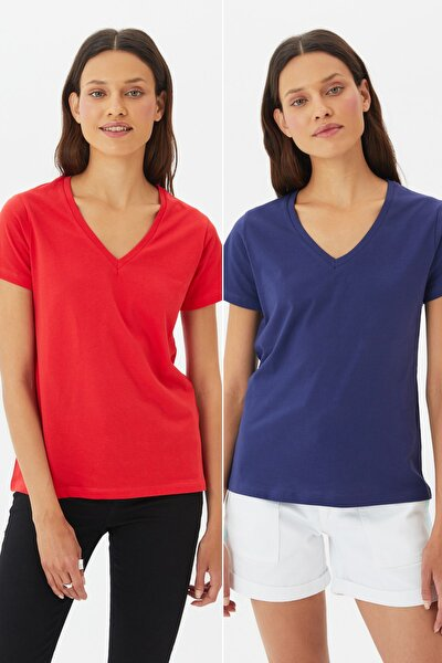 Lacivert-Kırmızı %100 Pamuk Süprem V Yaka 2'li Paket Örme T-Shirt TWOSS20TS0142