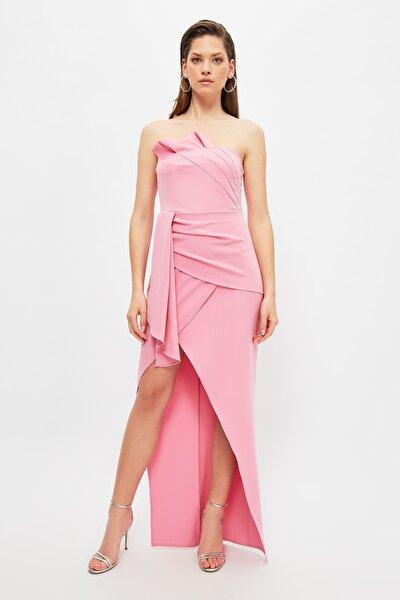 Pembe Yaka Detaylı Abiye & Mezuniyet Elbisesi TPRSS21AE0291