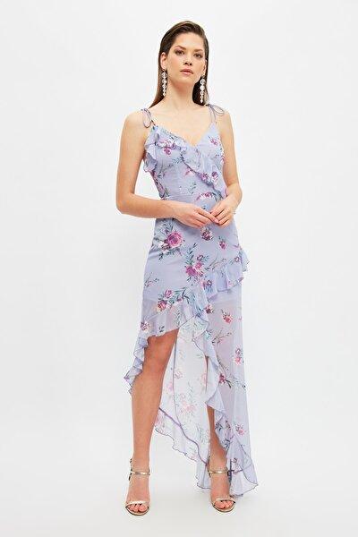 Çok Renkli Volanlı Abiye & Mezuniyet Elbisesi TPRSS21AE0120