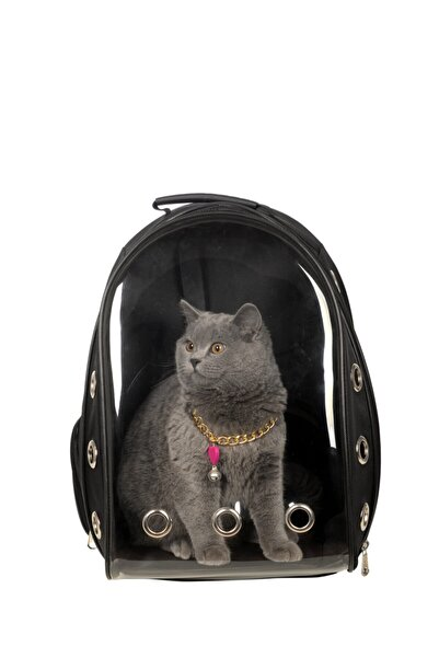 Şeffaf Astronot Kırılmaz Kedi Köpek Taşıma Çantası 42 X 22 X 33 Cm Siyah