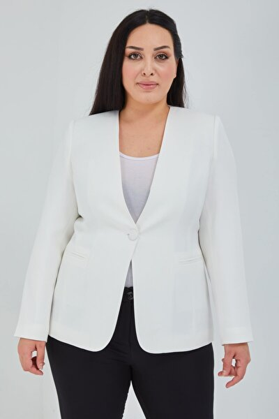 Kadın Büyük Beden V Yaka Tek Düğmeli Beyaz Ceket