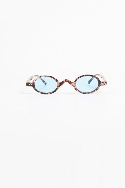 Bej Leopar Çerçeve Oval Retro Güneş Gözlüğü - Şeffaf Mavi Cam
