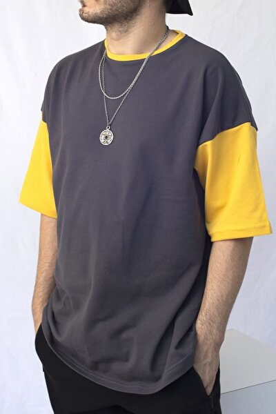 Erkek Gri Pamuklu Oversize Tişört