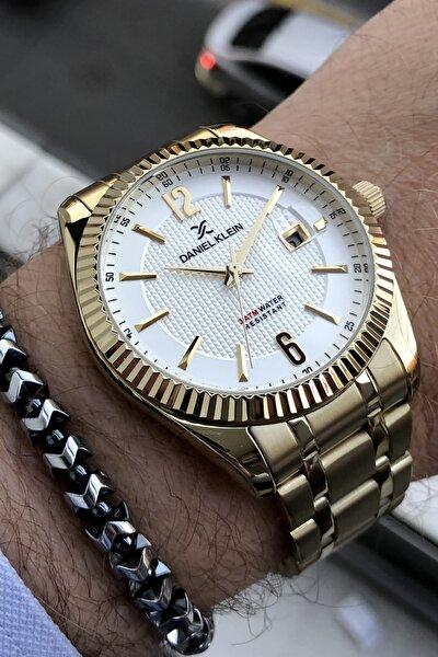 Erkek Çelik Kordon Altın Renk Kol Saati