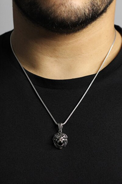 925 Ayar Gümüş Aslan Figürlü Gümüş Kolye