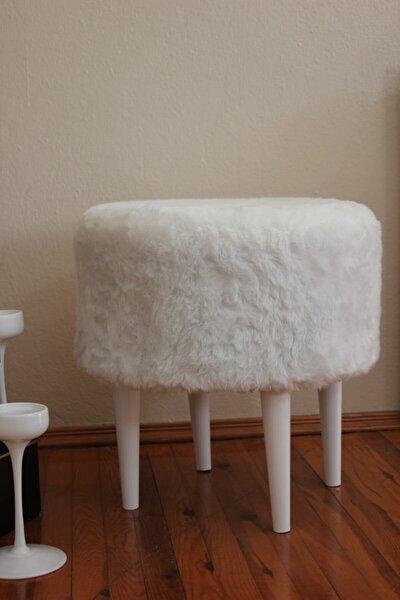 Gürgen Ahşap Ayaklı Dekoratif Beyaz Yuvarlak Pelüş Puf Bench Kolyuk Sandalye