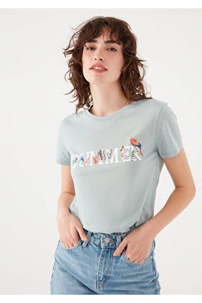 Kadın Yeşil Summer Baskılı Tişört