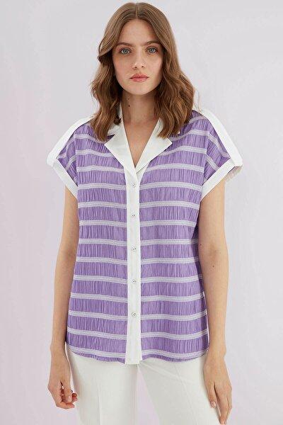 Kadın Mor Yaka Ön Patlı Düşük Kol Gömlek