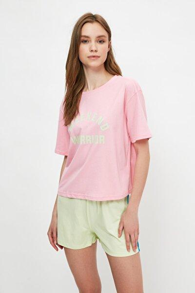Pembe Sloganlı Örme Pijama Takımı THMSS21PT1054