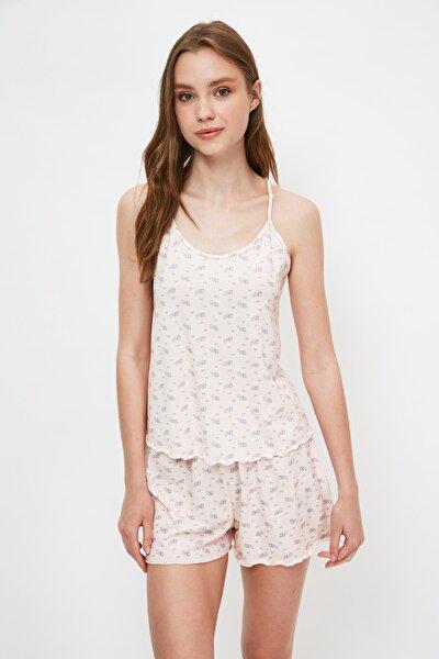 Pudra Çiçek Desenli Örme Pijama Takımı THMSS21PT1099