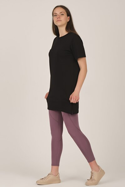 Kadın Siyah Kısa Kollu Bisiklet Yaka Uzun T-shirt