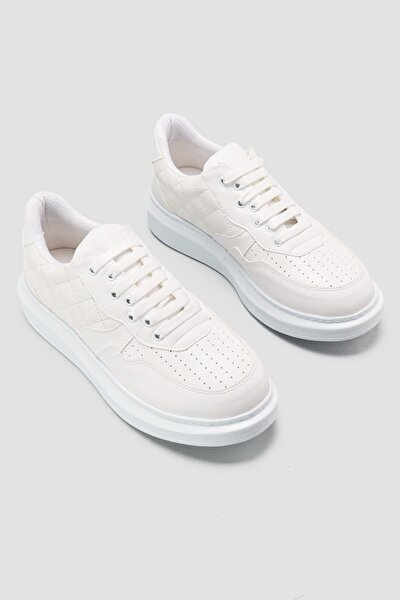 Reenie Beyaz Kapitone Detaylı Yüksek Tabanlı Sneakers Spor Ayakkabı