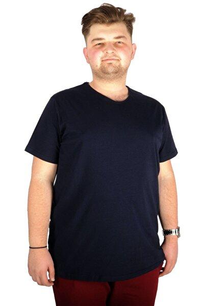 Büyük Beden T-shirt V Yaka Likralı 20150 Lacivert