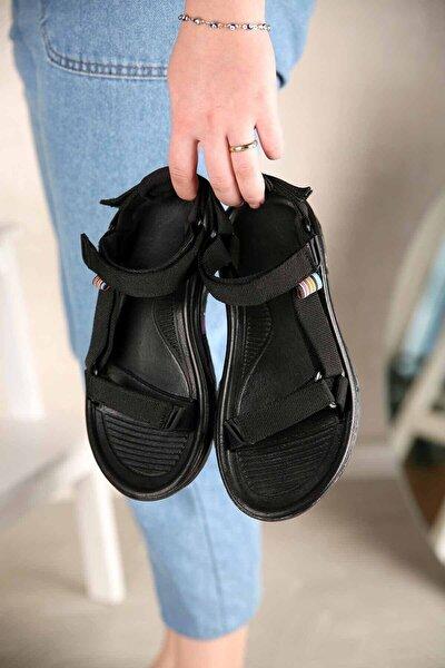 Kadın Siyah Step Cırtlı Trekking Sandalet