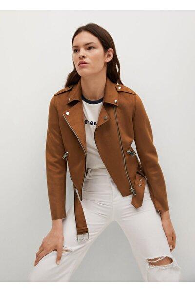 Kadın Kahverengi Suni Süet Biker Ceket
