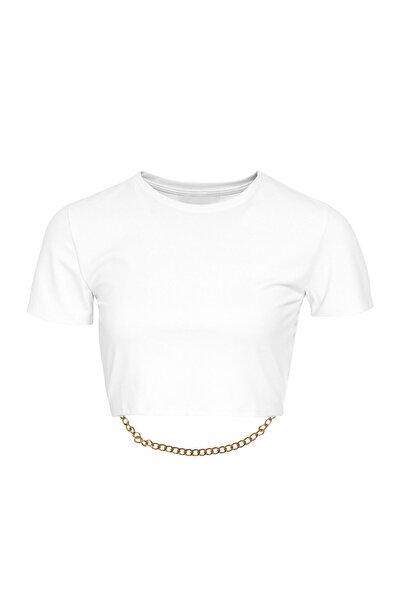 Zincir Detaylı Beyaz Bisiklet Yaka Crop Bluz
