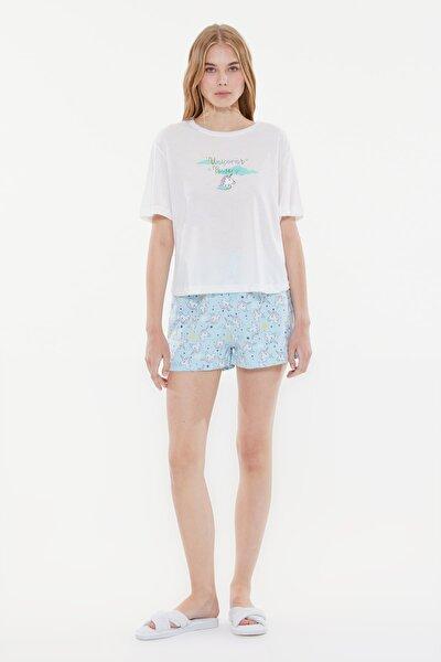 Mint Sloganlı Örme Pijama Takımı THMSS21PT0981