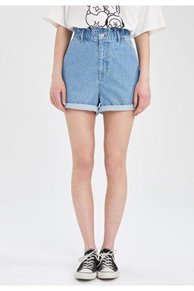 Kadın Paperbag Yüksek Belli Relax Fit Mini Jean Şort