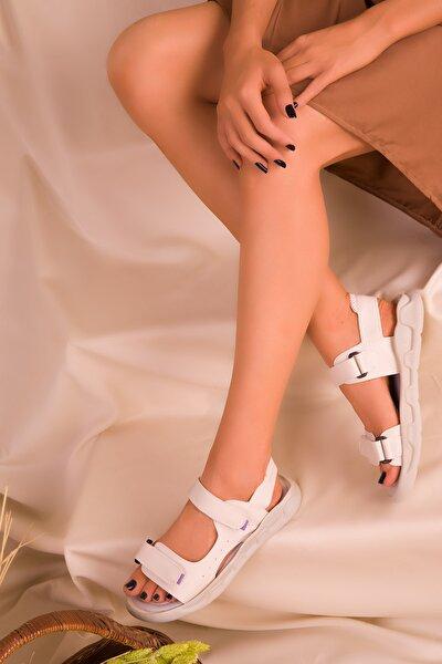Bej-Lila Kadın Sandalet 16348