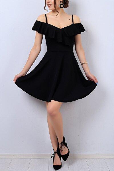 Kadın Esnek Krep Kumaş Yakası Volan Detaylı Ince Askılı Kiloş Siyah Abiye Elbise Gece Elbisesi 077