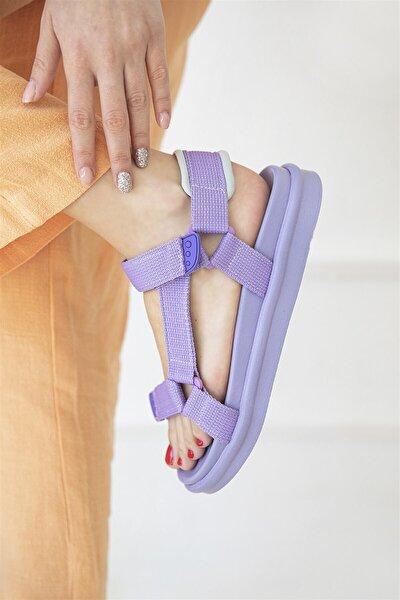 Kadın Lila Cırt Detaylı Sandalet