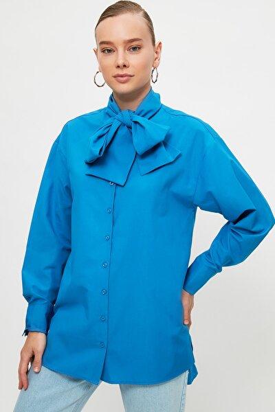 Mavi Fular Yaka Düğmeli Tesettür Tunik TCTSS21TN0381