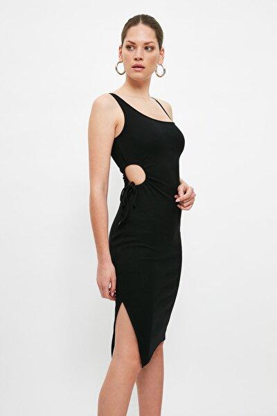 Siyah Kaşkorse Dekolte Detaylı Örme Elbise TWOSS21EL4342