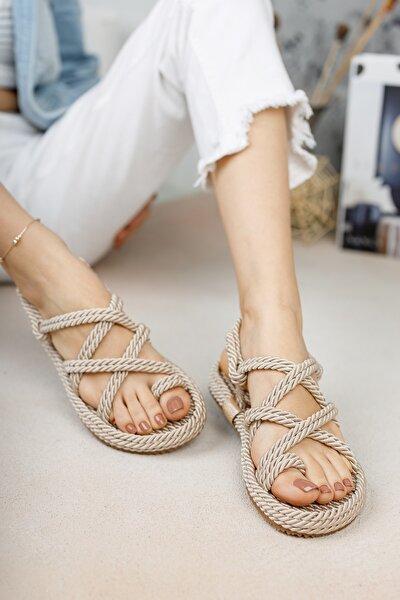 Halat Sandalet Krem