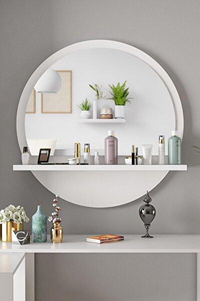 Yuvarlak Beyaz Raflı 60cm Ayna Koridor Dresuar Konsol Duvar Salon Mutfak Banyo Ofis Çocuk Yatak Oda