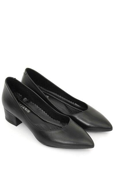 Hakiki Deri Siyah Topuklu Kadın Ayakkabı 25172