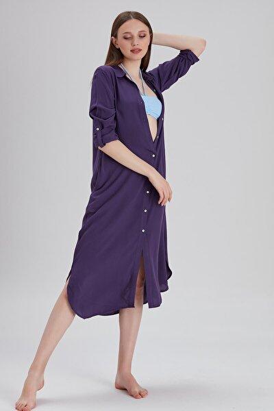 Kadın Gömlek Formlu Mor Plaj Elbisesi