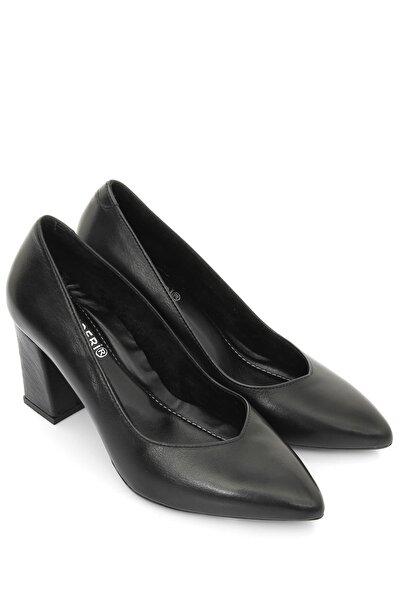 Kadın Siyah Hakiki Deri Topuklu Ayakkabı 24171
