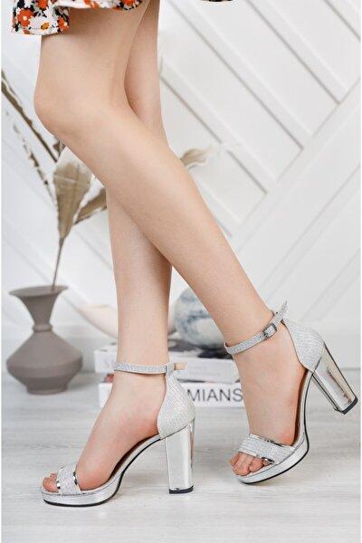 Işıltılı Gümüş Platform Topuklu Ayakkabı