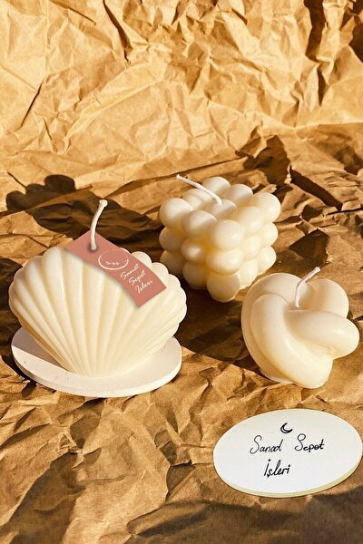 Beyaz Vanilya Kokulu Bubble İstiridye Dekoratif Mum 3lü