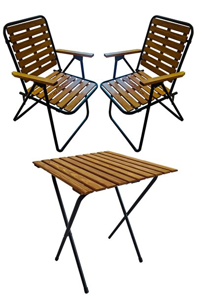 Ahşap 50x50 Katlanır Masa + 2 Adet Katlanır Sandalye Kamp Seti Bahçe Balkon Takımı-meşe-cntr00187